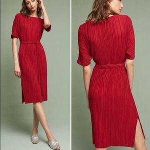 ANTHROPOLOGIE Daline Red Pleated Midi Dress S